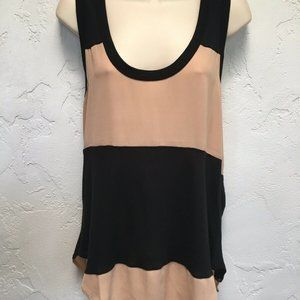 Haute Hippie Black & Nude Striped Top L (Fits M)